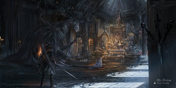 Tags: Anime, Stu Dts, Bloodborne, Cleric Beast, Vicar Amelia, The Hunter (Bloodborne), Praying, Torch, Statue, Fanart, Pixiv, Fanart From Pixiv