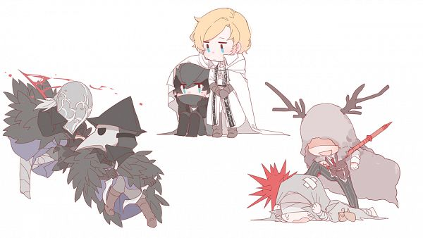 Tags: Anime, Pixiv Id 4021293, Bloodborne, Bloodborne: The Old Hunters, Simon the Harrowed, Bloody Crow of Cainhurst, Alfred (Bloodborne), Eileen the Crow, Brador (Bloodborne), The Hunter (Bloodborne), Wallpaper, Fanart, Fanart From Pixiv