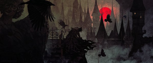 Tags: Anime, Anatofinnstark, Bloodborne, Eileen the Crow, Black Bird, Red Moon, Fanart From DeviantART, deviantART, Fanart