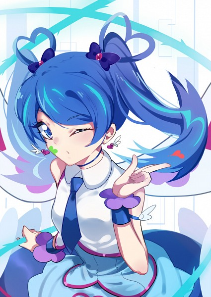 Tags: Anime, Pixiv Id 1761487, Yu-Gi-Oh! VRAINS, Yu-Gi-Oh!, Blue Angel, Zaizen Aoi, Blowing A Kiss, Heart Print, Mobile Wallpaper, Pixiv, Fanart, Fanart From Pixiv