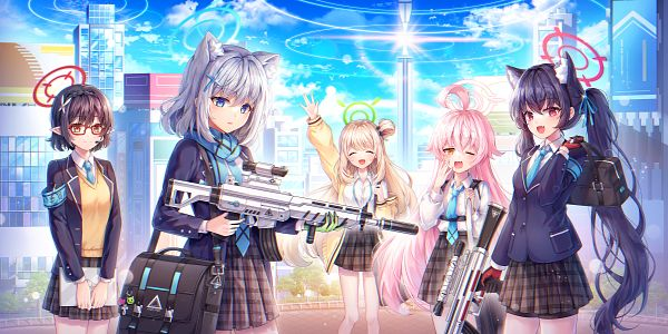 Tags: Anime, HAYUN, Blue Archive, Sunaookami Shiroko, Izayoi Nonomi, Okusora Ayane, Kuromi Serika, Takanashi Hoshino, Sniper Rifle, Side Bun, Pixiv, Fanart, Fanart From Pixiv