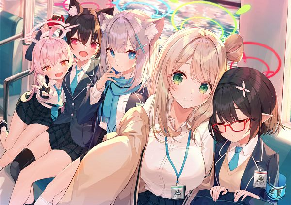 Tags: Anime, Pixiv Id 4091289, Blue Archive, Takanashi Hoshino, Sunaookami Shiroko, Izayoi Nonomi, Okusora Ayane, Kuromi Serika, Pixiv, Fanart, Fanart From Pixiv