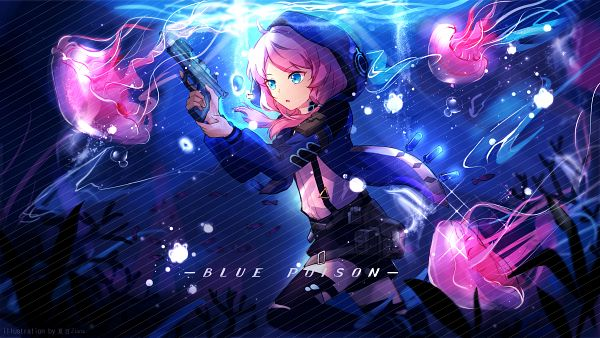 Tags: Anime, Pixiv Id 20475586, Arknights, Blue Poison, Jellyfish, Crossbow, Fanart, Fanart From Pixiv, Pixiv