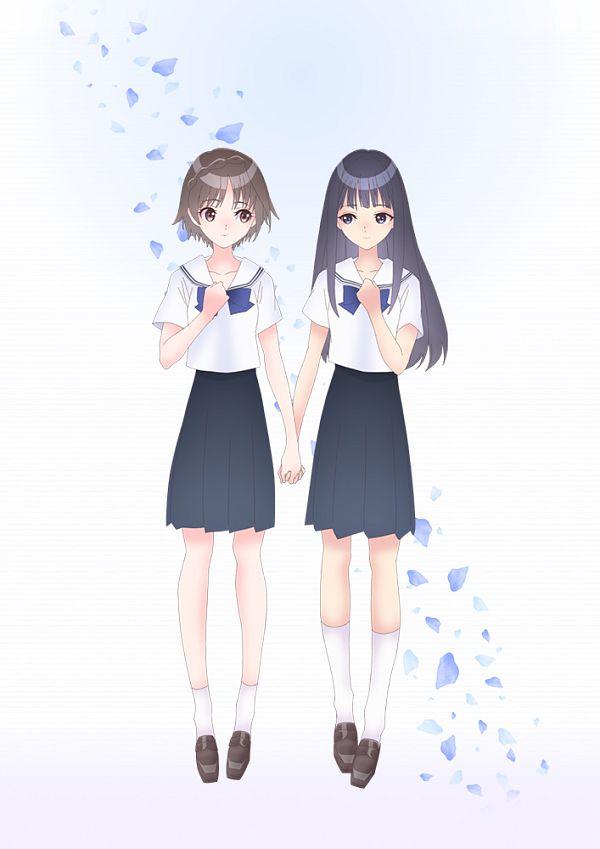 Tags: Anime, Kikuta Kouichi, J.C.STAFF, Blue Reflection Ray, Hirahara Hiori, Hanari Ruka, Key Visual, Official Art
