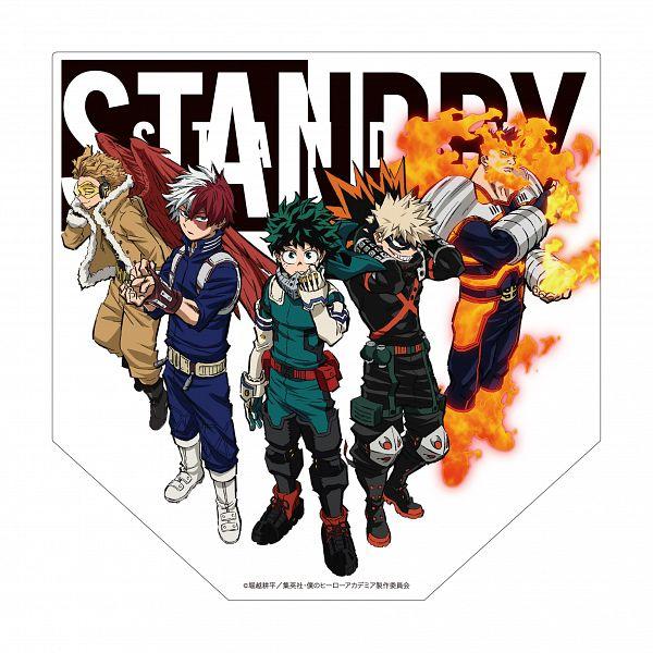 Tags: Anime, BONES (Studio), Boku no Hero Academia, Boku no Hero Academia: World Heroes' Mission, Todoroki Enji, Bakugou Katsuki, Midoriya Izuku, Takami Keigo, Official Art, Product Advertising