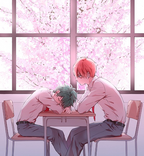 Tags: Anime, enick, Boku no Hero Academia, Todoroki Shouto, Midoriya Izuku, Laying Head On Desk, Fanart, Fanart From Pixiv, Pixiv, My Hero Academia
