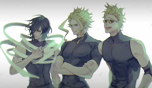 Tags: Anime, niro (Pixiv8537417), Boku no Hero Academia, Present Mic, All Might, Aizawa Shouta, Fanart From Pixiv, PNG Conversion, Pixiv, Fanart, My Hero Academia