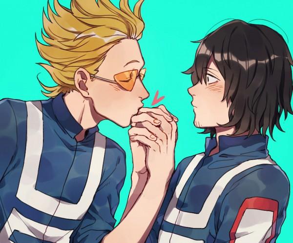 Tags: Anime, Pixiv Id 8126510, Boku no Hero Academia, Present Mic, Aizawa Shouta, Aqua Background, Surprise Kiss, Fanart From Pixiv, Pixiv, Fanart, EraserMic, My Hero Academia
