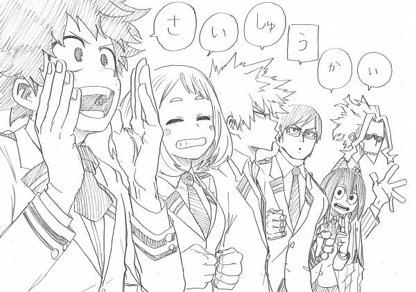 Tags: Anime, Horikoshi Kouhei, Boku no Hero Academia, Bakugou Katsuki, Midoriya Izuku, All Might, Iida Tenya, Asui Tsuyu, Official Art, My Hero Academia