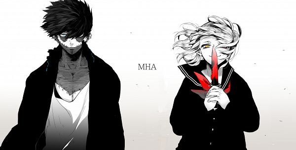 Tags: Anime, Noppo, Boku no Hero Academia, Toga Himiko, Dabi, Blood On Weapons, Nose Piercing, Pixiv, My Hero Academia
