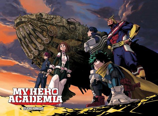Tags: Anime, Horikoshi Kouhei, Boku no Hero Academia, All Might, Iida Tenya, Uraraka Ochako, Todoroki Shouto, Midoriya Izuku, Official Art, My Hero Academia
