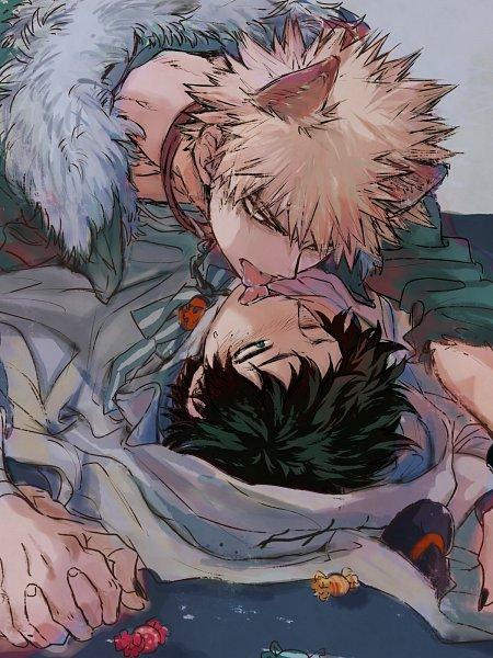Tags: Anime, Boku no Hero Academia, Bakugou Katsuki, Midoriya Izuku, Cat Eats, Artist Request, Wallpaper, KatsuDeku, My Hero Academia