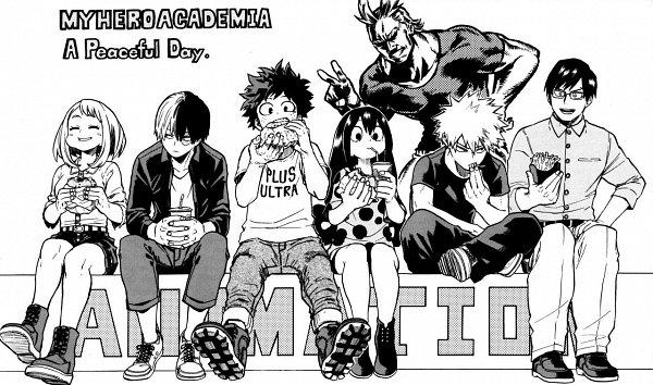 Tags: Anime, Horikoshi Kouhei, Boku no Hero Academia, Asui Tsuyu, All Might, Bakugou Katsuki, Iida Tenya, Midoriya Izuku, Uraraka Ochako, Todoroki Shouto, Official Art, My Hero Academia