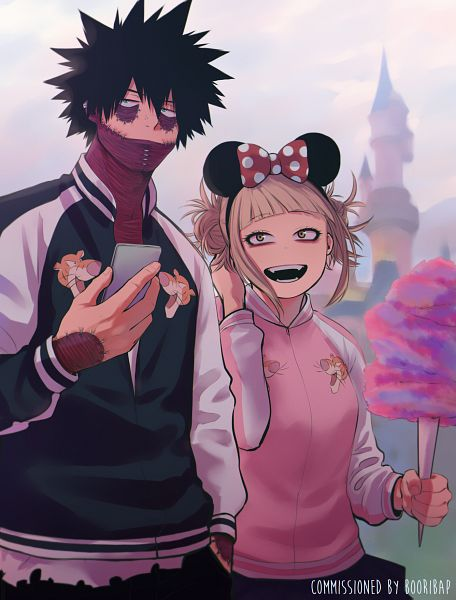 Tags: Anime, Keiid, Boku no Hero Academia, Toga Himiko, Dabi, Cotton Candy, Spotted Bow, Minnie Mouse (Cosplay), Nose Piercing, Fanart, My Hero Academia