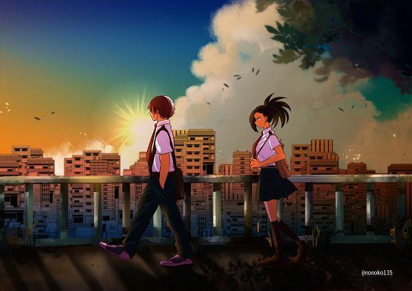 Tags: Anime, Pixiv Id 13086545, Boku no Hero Academia, Todoroki Shouto, Yaoyorozu Momo, Pixiv, Fanart, Fanart From Pixiv, TodoMomo, My Hero Academia