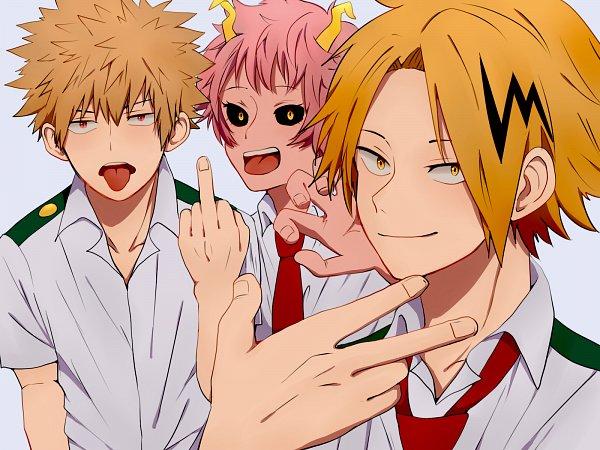 Tags: Anime, Pixiv Id 4765263, Boku no Hero Academia, Kaminari Denki, Bakugou Katsuki, Ashido Mina, Pink Skin, Wallpaper, Pixiv, My Hero Academia