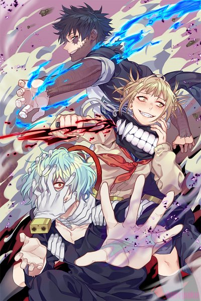 Tags: Anime, Curryuku, Boku no Hero Academia, Shigaraki Tomura, Toga Himiko, Dabi, Hand on Neck, Fanart, Tumblr, My Hero Academia