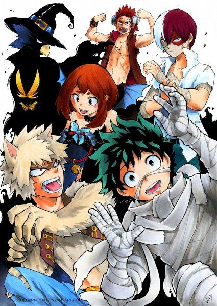 Tags: Anime, Sideburn004, Boku no Hero Academia, Tokoyami Fumikage, Midoriya Izuku, Kirishima Eijirou, Uraraka Ochako, Todoroki Shouto, Bakugou Katsuki, Werewolf, Frankenstein's Monster (Cosplay), Mummy, deviantART, My Hero Academia