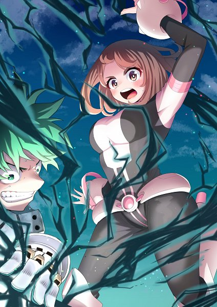 Tags: Anime, Pixiv Id 30454906, Boku no Hero Academia, Uraraka Ochako, Midoriya Izuku, Gritted Teeth, Fanart From Pixiv, Pixiv, Fanart, My Hero Academia