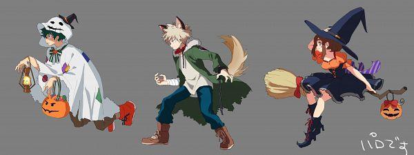 Tags: Anime, mebarunrun, Boku no Hero Academia, Uraraka Ochako, Bakugou Katsuki, Midoriya Izuku, Werewolf Costume, Ghost Costume, Fanart, Fanart From Pixiv, Pixiv, My Hero Academia