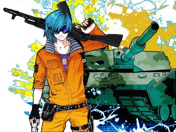Tags: Anime, Ranmaru (Iro), VOCALOID, KAITO, Tank, Machine Gun, Bokura no 16bit Warz, Wallpaper, Pixiv, Our 16bit War