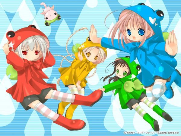 Tags: Anime, Tokumi Yuiko, Bottle Fairy, Oboro (Bottle Fairy), Chiriri, Kururu (Bottle Fairy), Hororo, Sarara, Rain Coat, Frog Hood, Rain Boots, Official Art