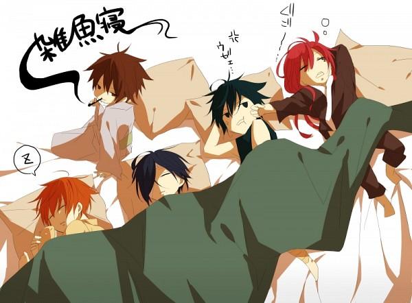 Tags: Anime, Pixiv Id 2081091, Brave 10, Sanada Yukimura (Brave 10), Unno Rokurou, Sarutobi Sasuke (Brave 10), Kamanosuke Yuri, Kirigakure Saizou, Hitting, Futon, Pixiv
