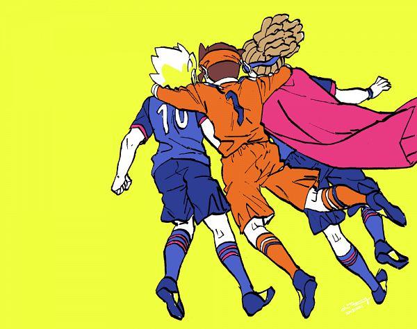 Tags: Anime, Pixiv Id 330331, Inazuma Eleven Orion no Kokuin, Inazuma Eleven, Endou Mamoru, Kidou Yuuto, Gouenji Shuuya, Inazuma Japan (Orion) Uniform, Fanart From Pixiv, Pixiv, Fanart, Break Team