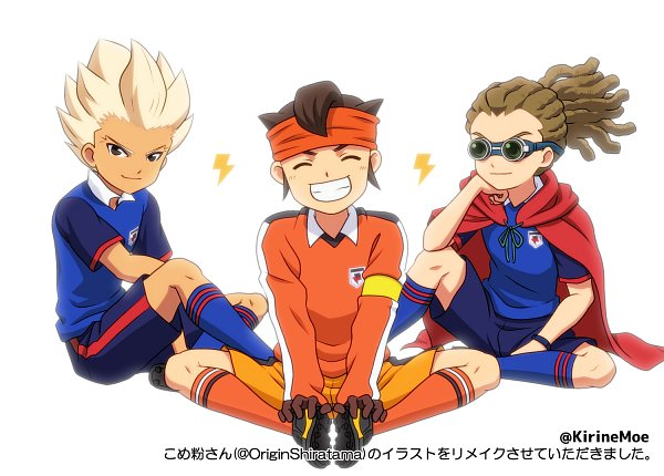 Tags: Anime, Pixiv Id 6803921, Inazuma Eleven Orion no Kokuin, Inazuma Eleven, Kidou Yuuto, Gouenji Shuuya, Endou Mamoru, Inazuma Japan (Orion) Uniform, Red C, Fanart, Fanart From Pixiv, Pixiv, Break Team