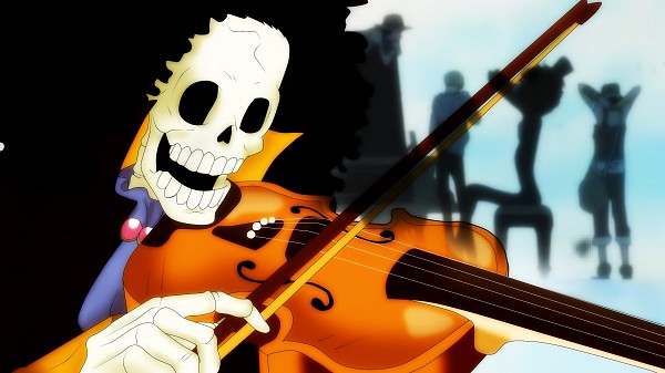 Tags: Anime, ONE PIECE, Monkey D. Luffy, Usopp, Sanji, Brook, Playing Violin, Wallpaper