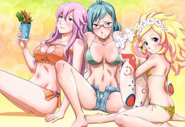 Tags: Anime, SANZIGEN, Bubuki Buranki, Ougi Kinoa, Migite-chan (Bubuki Buranki), Taneomi Shizuru, Asabuki Kogane, Cat Lingerie, Cat Keyhole Bra, Official Art, Scan, Bbk/brnk