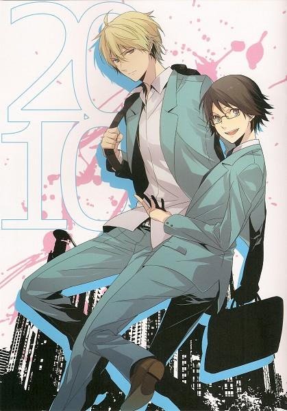Tags: Anime, ryugo, DURARARA!!, Bumblebee - Hummel Color Illustrations, Kishitani Shinra, Heiwajima Shizuo, Mobile Wallpaper, Scan
