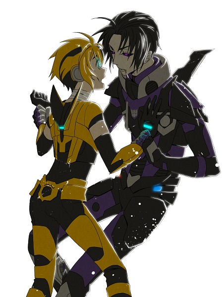 Tags: Anime, Arin66, Transformers, Barricade (Transformers), Bumblebee, Mecha (Personification), Bandaged Neck, Pixiv, Autobots, Decepticons