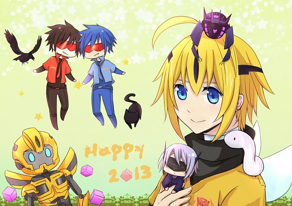 Tags: Anime, Transformers, Soundwave (Transformers), Bumblebee, Soundblaster (Transformers), Mecha (Personification), Pixiv