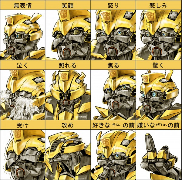 Tags: Anime, Agakunoda, Transformers, Bumblebee, Pixiv, Fanart, Expression Chart