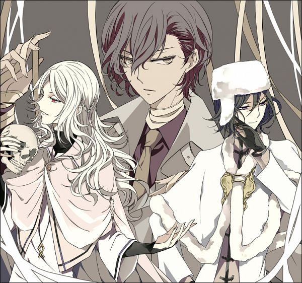 Tags: Anime, Pimang, Bungou Stray Dogs, Bungou Stray Dogs: Dead Apple, Dazai Osamu, Shibusawa Tatsuhiko, Fyodor Dostoyevsky, Bridal Gauntlets, Bandaged Neck, Fanart, Twitter