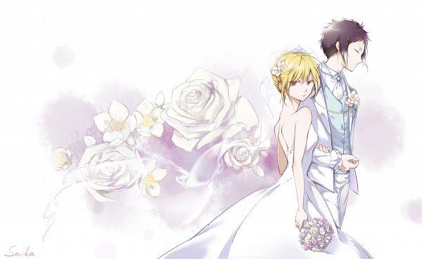 Tags: Anime, Pixiv Id 13463341, Bungou Stray Dogs, Higuchi Ichiyou, Akutagawa Ryuunosuke (Bungou Stray Dogs), Veil White Dress, Fanart From Pixiv, Pixiv, Fanart