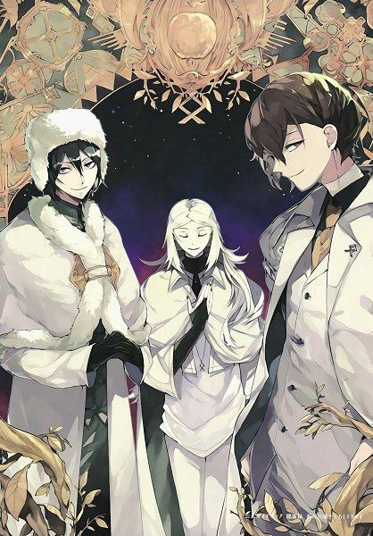 Tags: Anime, 35 (Artist), Bungou Stray Dogs, Bungou Stray Dogs: Dead Apple, Shibusawa Tatsuhiko, Fyodor Dostoyevsky, Dazai Osamu, Ushanka, Official Art