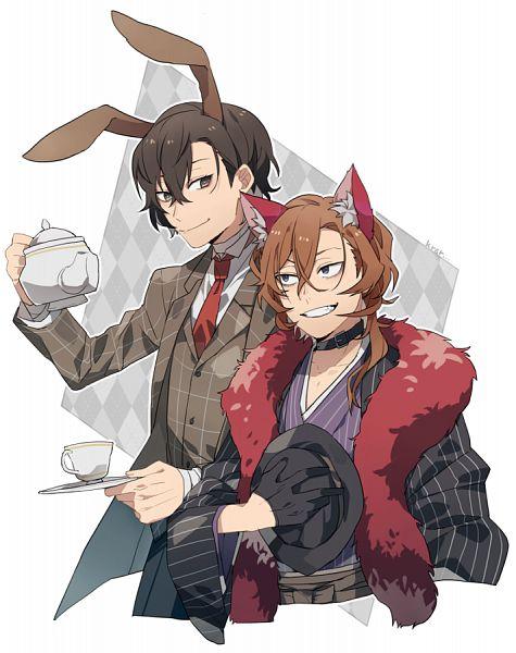 Tags: Anime, Kiragera, Bungou Stray Dogs, Nakahara Chuuya (Bungou Stray Dogs), Dazai Osamu, Cheshire Cat (Cosplay), March Hare (Cosplay), Pixiv, Fanart, Fanart From Pixiv