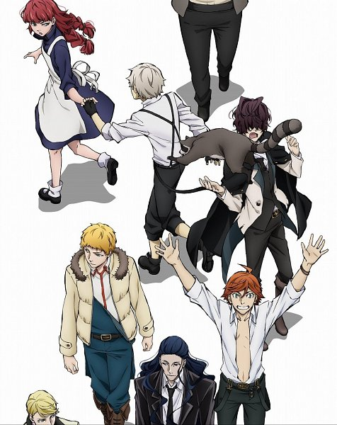 Tags: Anime, Arai Nobuhiro, BONES (Studio), Bungou Stray Dogs, Edgar Allan Poe (Bungou Stray Dogs), Francis Scott Key Fitzgerald, Lucy Maud Montgomery, Mark Twain, Nakajima Atsushi (Bungou Stray Dogs), John Steinbeck, Raccoon, DVD (Source), Official Art