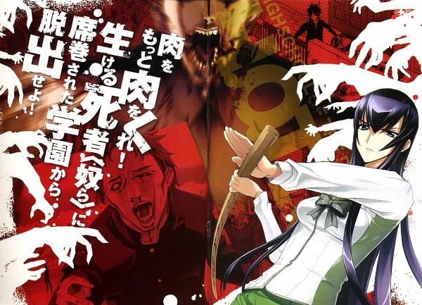 Tags: Anime, Satou Shouji, Gakuen Mokushiroku: HIGHSCHOOL OF THE DEAD, Busujima Saeko, 1440x900 Wallpaper, Shinai, Wallpaper, HD Wallpaper, Official Art, Official Wallpaper