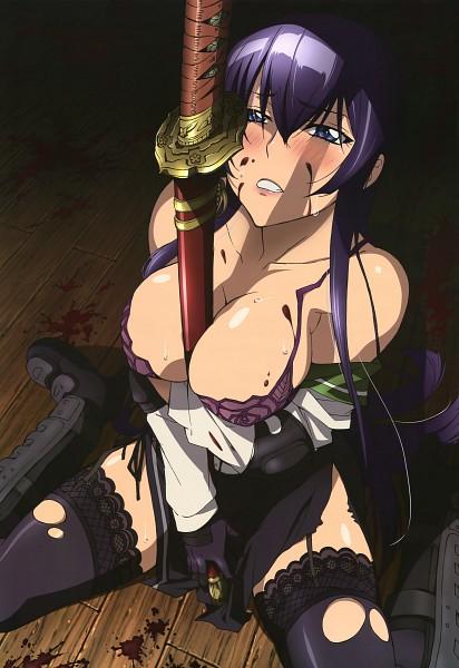 Tags: Anime, Tanaka Masayoshi, Ochiai Mutsumi, Gakuen Mokushiroku: HIGHSCHOOL OF THE DEAD, Nyantype #11 2010-10, Busujima Saeko, Between Breasts, Official Art, Scan, Mobile Wallpaper