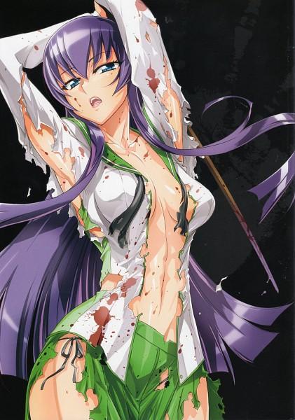 Tags: Anime, Satou Shouji, Gakuen Mokushiroku: HIGHSCHOOL OF THE DEAD, Busujima Saeko, Mobile Wallpaper, Official Art