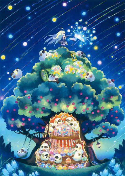 Tags: Anime, CARNELIAN, Eshi 100-nin Ten 06, Shooting Stars, Hourglass, Original, Mobile Wallpaper, Scan