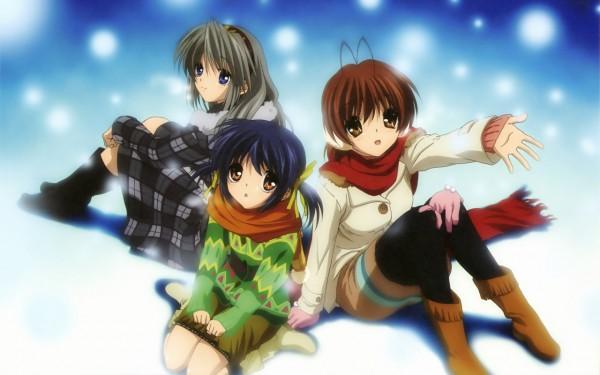 Tags: Anime, Kyoto Animation, KEY (Studio), CLANNAD, Sakagami Tomoyo, Furukawa Nagisa, Sunohara Mei, Wallpaper, Official Art