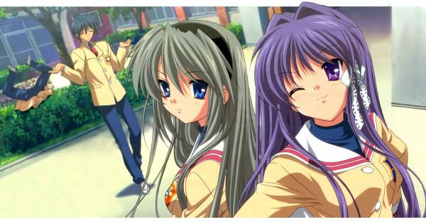 Tags: Anime, KEY (Studio), Kyoto Animation, CLANNAD, Sakagami Tomoyo, Sunohara Youhei, Fujibayashi Kyou, Okazaki Tomoya, Facebook Cover, Wallpaper, Official Art, Scan