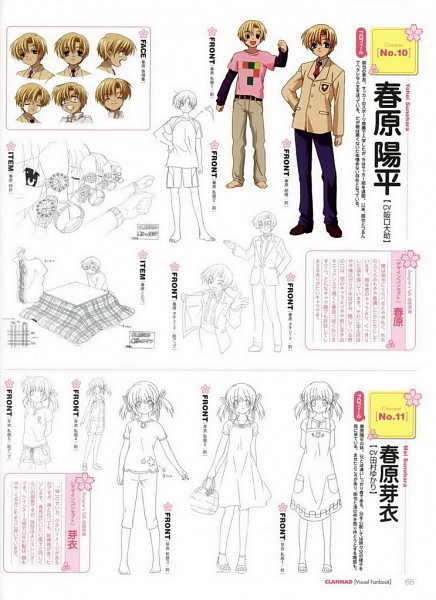 Tags: Anime, Ikeda Kazumi, KEY (Studio), Kyoto Animation, Clannad TV Animation Visual Fan Book, CLANNAD, Sunohara Mei, Sunohara Youhei, Official Art, Scan