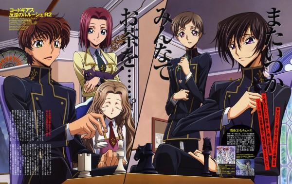 Tags: Anime, Sakamoto Shuuji, Sunrise (Studio), CODE GEASS: Hangyaku no Lelouch, CODE GEASS: Hangyaku no Lelouch R2, Rolo Lamperouge, Lelouch Lamperouge, Kururugi Suzaku, Arthur (CODE GEASS), Nunnally Lamperouge, Kallen Stadtfeld, Chess, Official Art, Code Geass: Lelouch Of The Rebellion
