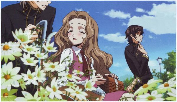 Tags: Anime, Sunrise (Studio), CODE GEASS: Hangyaku no Lelouch, Lelouch Lamperouge, Rai (Code Geass), Nunnally Lamperouge, Wheelchair, Scan, Official Art, Code Geass: Lelouch Of The Rebellion