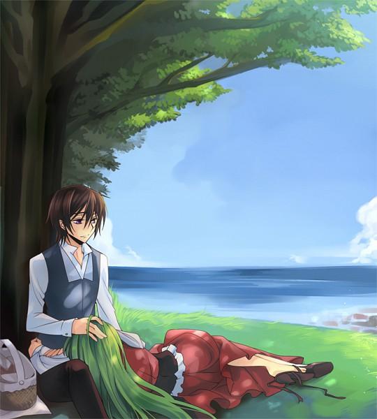 Tags: Anime, Rangetsu, CODE GEASS: Hangyaku no Lelouch, C.C., Lelouch Lamperouge, Under A Tree, Blue Vest, Fanart, Pixiv, LuluC, Code Geass: Lelouch Of The Rebellion
